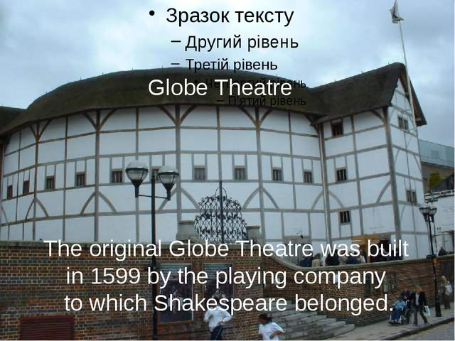 The original Globe Theatre was built in 1599 by the playing company to which...