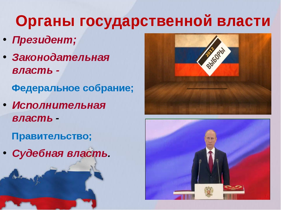 Органы государственной власти Президент; Законодательная власть - Федеральное...