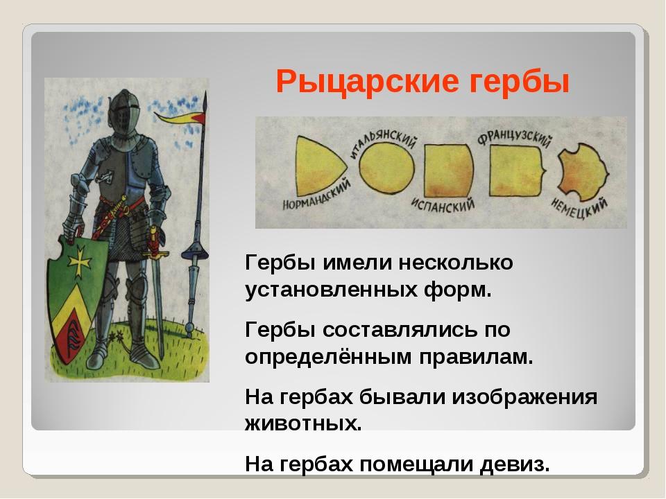Рыцарские гербы Гербы имели несколько установленных форм. Гербы составлялись...
