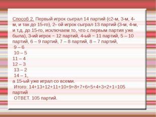 Способ 2. Первый игрок сыграл 14 партий (с2-м, 3-м, 4-м, и так до 15-го), 2-