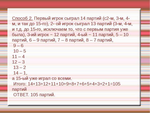 Способ 2. Первый игрок сыграл 14 партий (с2-м, 3-м, 4-м, и так до 15-го), 2-...