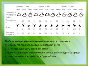Выбери верное утверждение о погоде на эти трое суток. 1) В среду температура