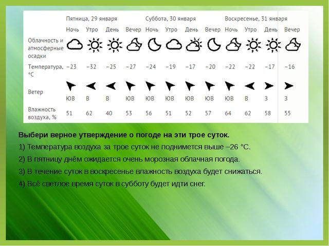 Выбери верное утверждение о погоде на эти трое суток. 1) Температура воздуха...