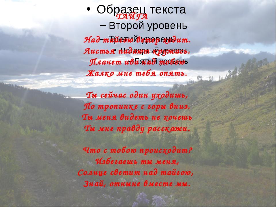 ТАЙГА Над тайгою ветер ходит. Листья падают кружась. Плачет ива над тобою Жал...