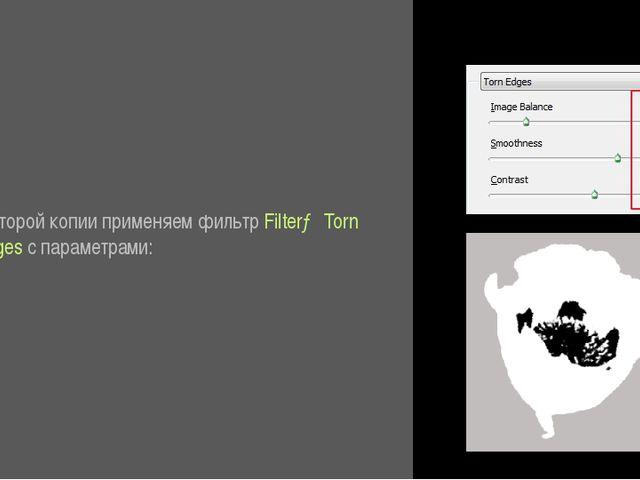 К второй копии применяем фильтр Filter→ Torn Edges с параметрами:
