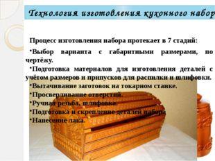 Процесс изготовления набора протекает в 7 стадий: Выбор варианта с габаритным