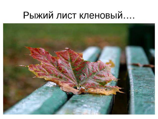 Рыжий лист кленовый….