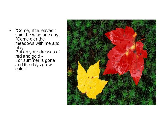"""""""Come, little leaves,"""" said the wind one day, """"Come o'er the meadows with me..."""