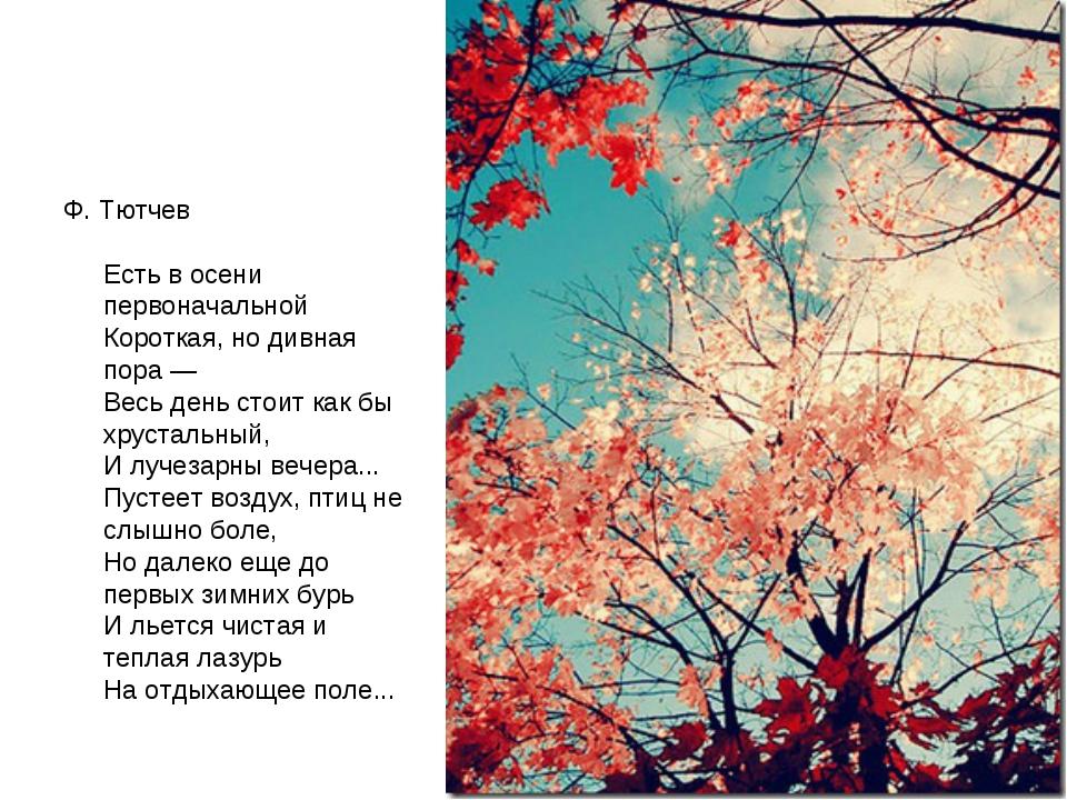 Ф. Тютчев Есть в осени первоначальной Короткая, но дивная пора — Весь день ст...