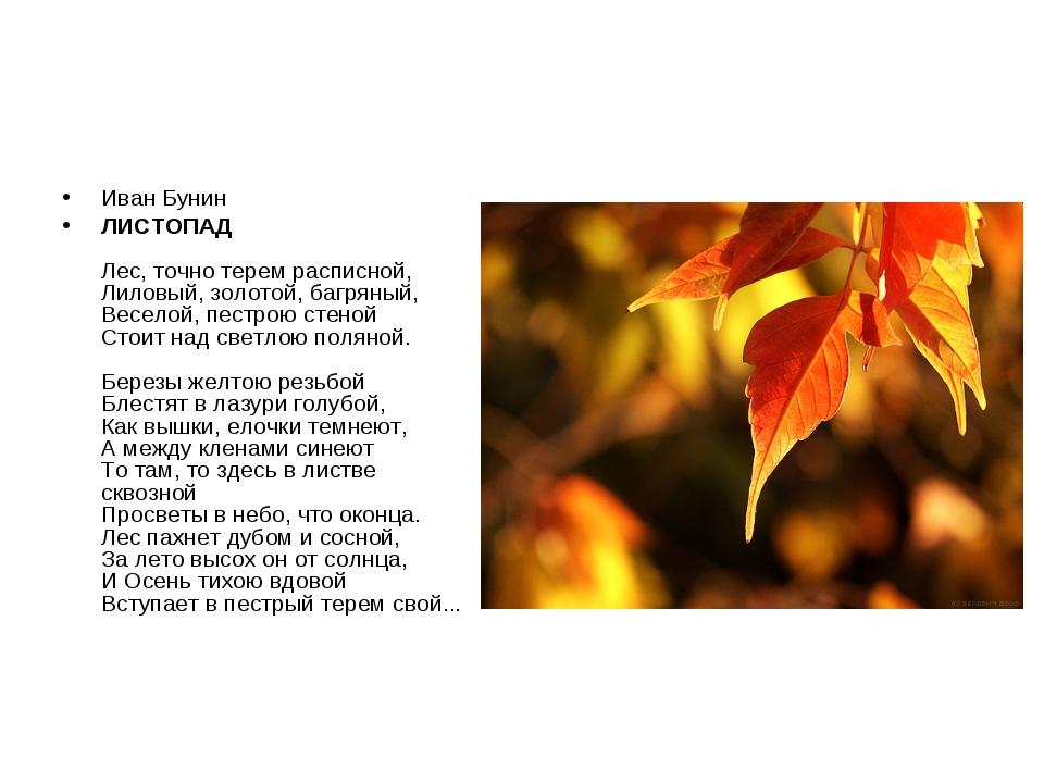 Иван Бунин ЛИСТОПАД Лес, точно терем расписной, Лиловый, золотой, багряный, В...