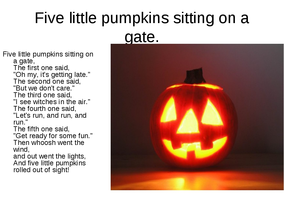 Five little pumpkins sitting on a gate. Five little pumpkins sitting on a gat...