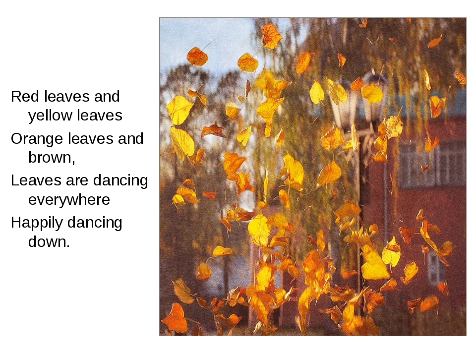 Red leaves and yellow leaves Orange leaves and brown, Leaves are dancing ever...