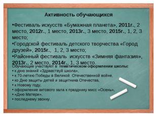 Активность обучающихся Фестиваль искусств «Бумажная планета», 2011г., 2 место