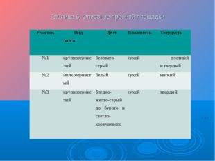 Таблица 5. Описание пробной площадки Участок Вид снегаЦвет Влажность Твер