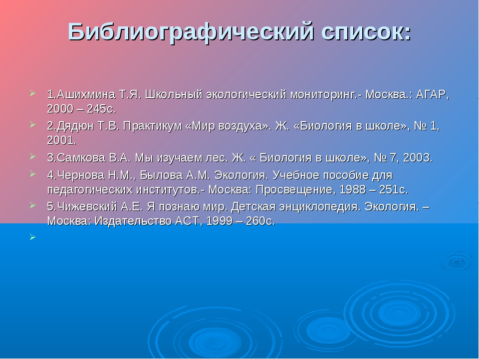 Библиографический список: 1.Ашихмина Т.Я. Школьный экологический мониторинг.-...