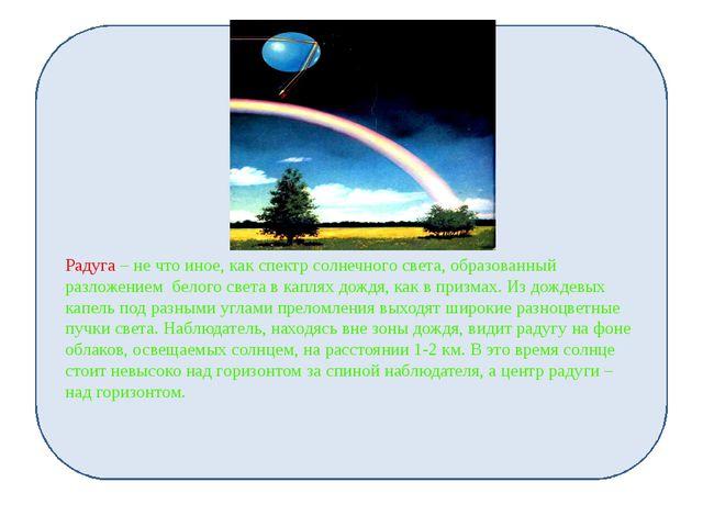 Радуга – не что иное, как спектр солнечного света, образованный разложением...