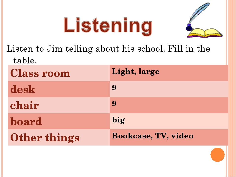 Listen to Jim telling about his school. Fill in the table. Class room	Light,...