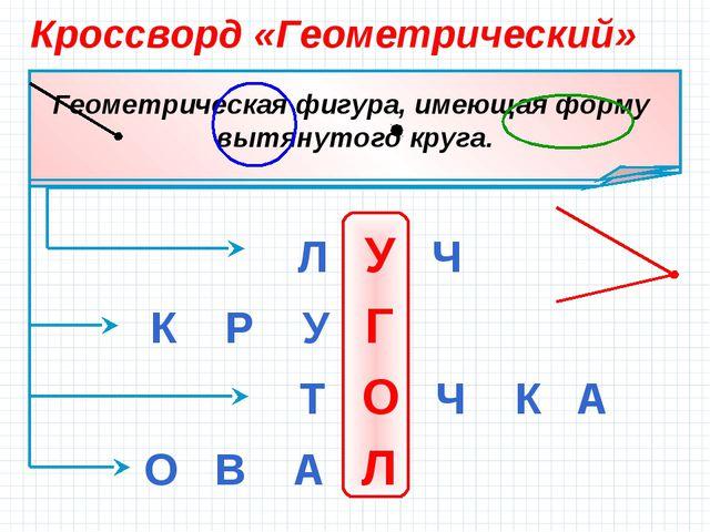 Кроссворд «Геометрический» Л У Ч К Р У Г Т О Ч К А О В А Л...