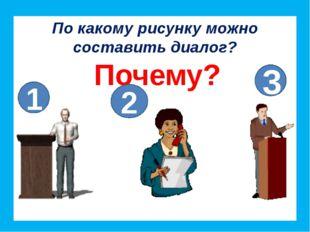 По какому рисунку можно составить диалог? Почему? 1 2 3