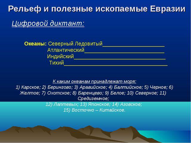 Цифровой диктант: Рельеф и полезные ископаемые Евразии Океаны: Северный Ледов...