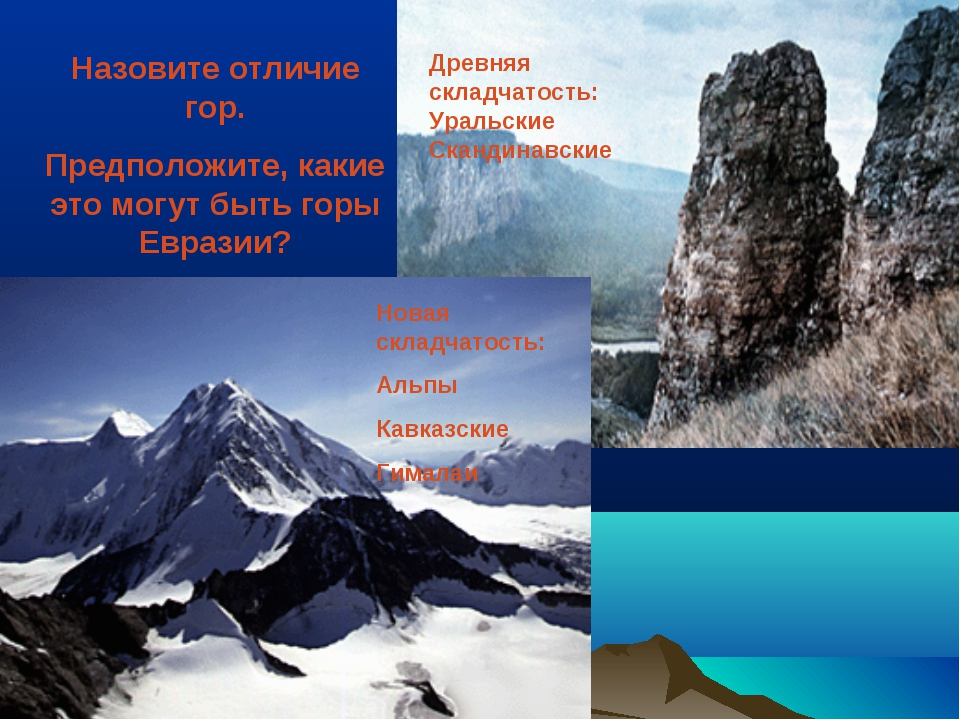 Назовите отличие гор. Предположите, какие это могут быть горы Евразии? Древня...