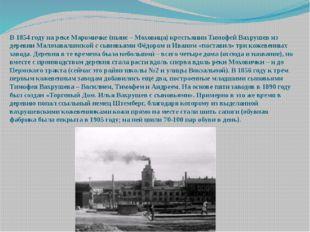 В 1854 году на реке Маромичке (ныне – Моховица) крестьянин Тимофей Вахрушев и