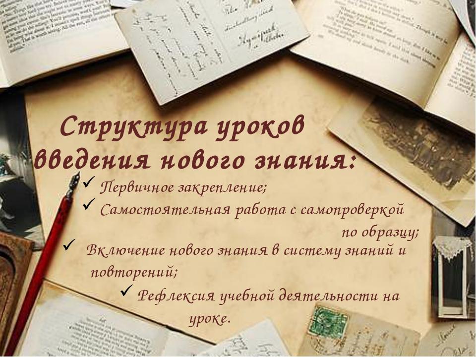 Структура уроков введения нового знания: Первичное закрепление; Самостоятельн...
