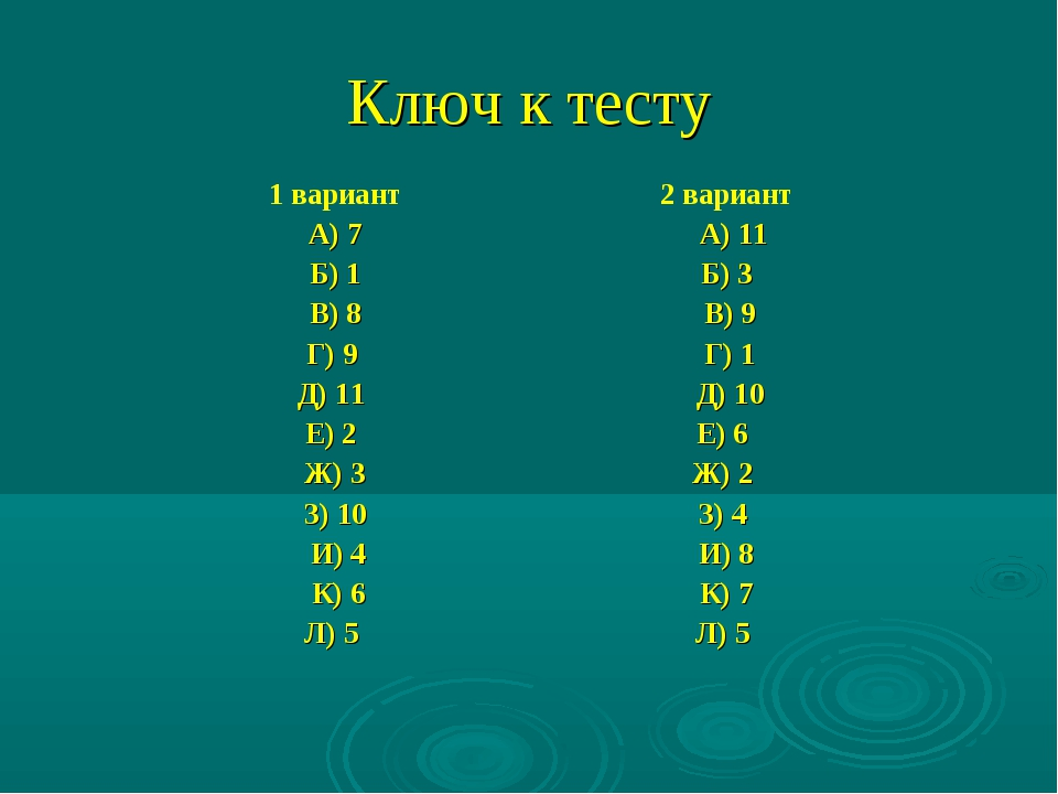 Ключ к тесту 1 вариант А) 7 Б) 1 В) 8 Г) 9 Д) 11 Е) 2 Ж) 3 З) 10 И) 4 К)...