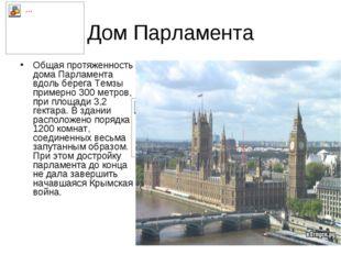 Дом Парламента Общая протяженность дома Парламента вдоль берега Темзы примерн