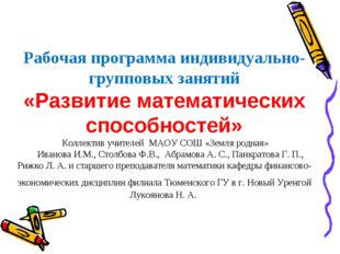 Рабочая программа индивидуально-групповых занятий «Развитие математических сп
