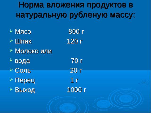 Норма вложения продуктов в натуральную рубленую массу: Мясо 800 г Шпик 120 г...