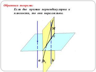 а b b1 Обратная теорема: Если две прямые перпендикулярны к плоскости, то они