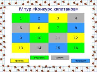 Кузнецова О.Н. IV тур «Конкурс капитанов» физика биология химия география 12