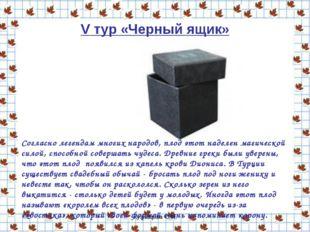 Кузнецова О.Н. V тур «Черный ящик» Согласно легендам многих народов, плод это