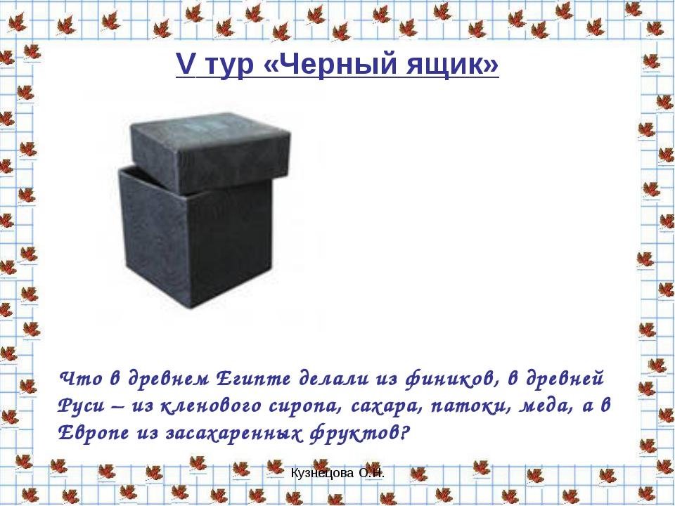 Кузнецова О.Н. V тур «Черный ящик» Что в древнем Египте делали из фиников, в...