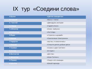 IX тур «Соедини слова» И.Бунин «Цветик-семицветик» М.Горький «Муха и пчела» А