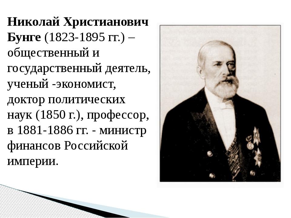 Николай Христианович Бунге (1823-1895 гг.) – общественный и государственный д...