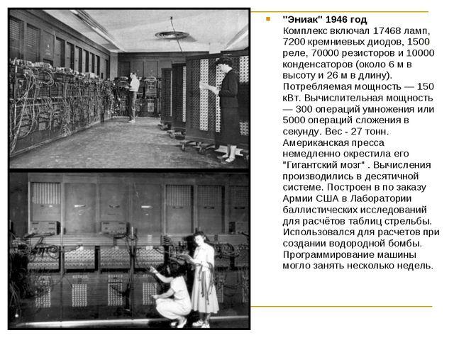 """""""Эниак"""" 1946 год Комплекс включал 17468 ламп, 7200 кремниевых диодов, 1500 ре..."""