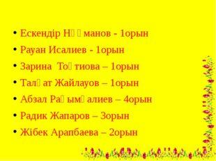 Ескендір Нұғманов - 1орын Рауан Исалиев - 1орын Зарина Тоқтиова – 1орын Талғ