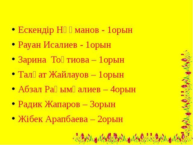 Ескендір Нұғманов - 1орын Рауан Исалиев - 1орын Зарина Тоқтиова – 1орын Талғ...