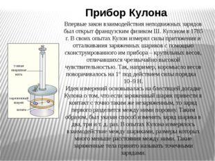 Прибор Кулона Впервые закон взаимодействия неподвижных зарядов был открыт фр