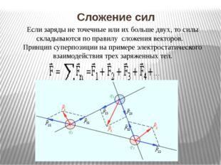 Сложение сил Если заряды не точечные или их больше двух, то силы складываютс