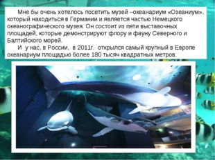 Мне бы очень хотелось посетить музей –океанариум «Озеаниум», который находить