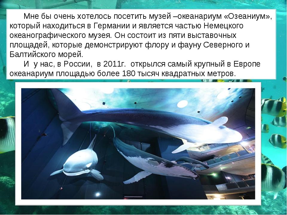 Мне бы очень хотелось посетить музей –океанариум «Озеаниум», который находить...