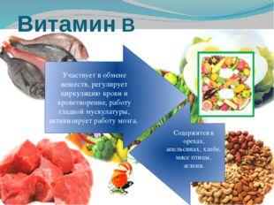 Витамин B Содержится в орехах, апельсинах, хлебе, мясе птицы, зелени. Участву