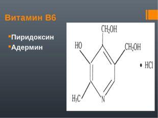 Витамин В6 Пиридоксин Адермин