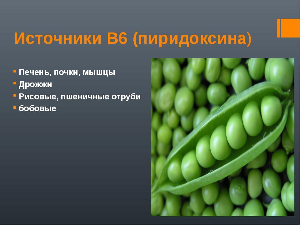 Источники В6 (пиридоксина) Печень, почки, мышцы Дрожжи Рисовые, пшеничные отр...