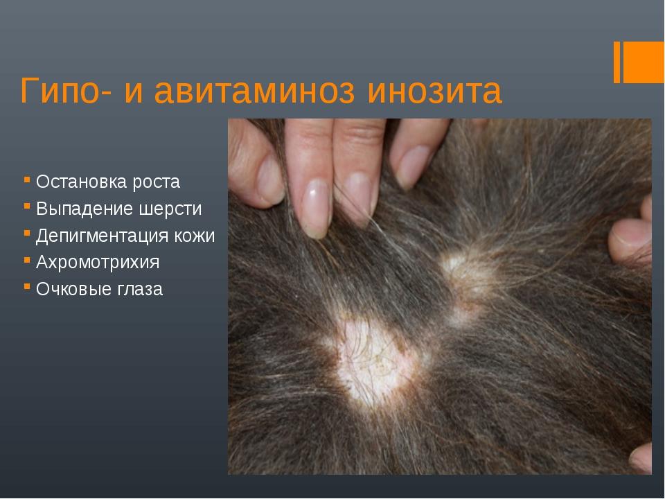 Гипо- и авитаминоз инозита Остановка роста Выпадение шерсти Депигментация кож...