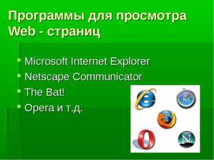 Программы для просмотра Web - страниц Microsoft Internet Explorer Netscape Co