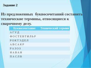 Задание 2 Из предложенных буквосочетаний составить технические термины, относ